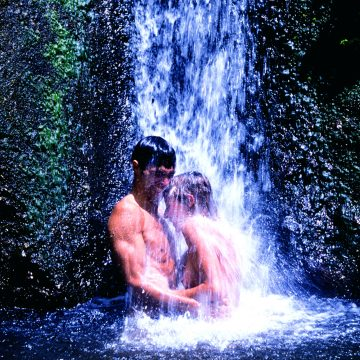 b - couple in waterfall